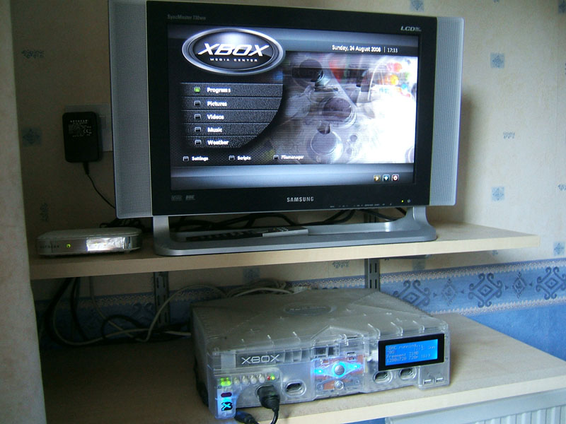 Modified Xbox with an LCD screen