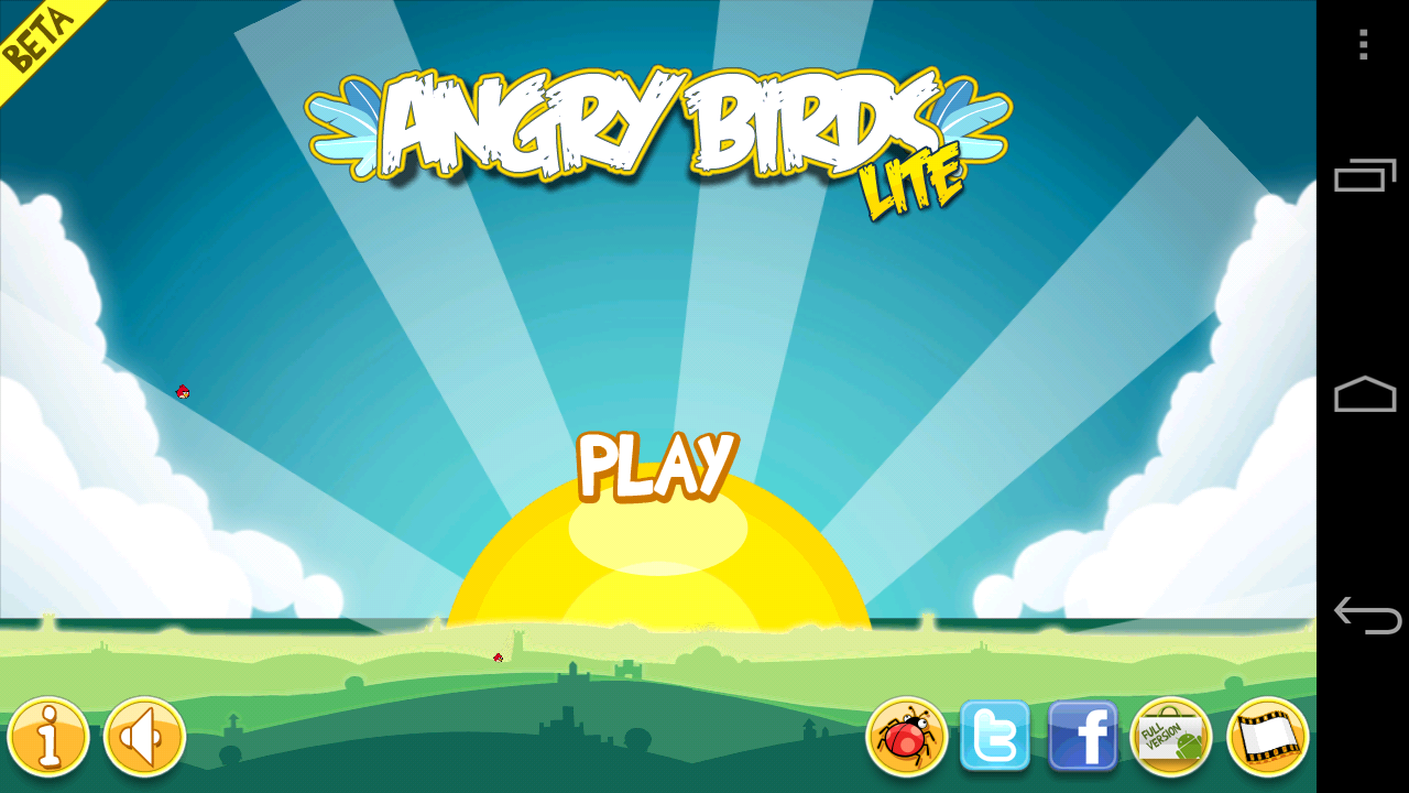 Angry Birds Lite Beta 2 Android Title Screen