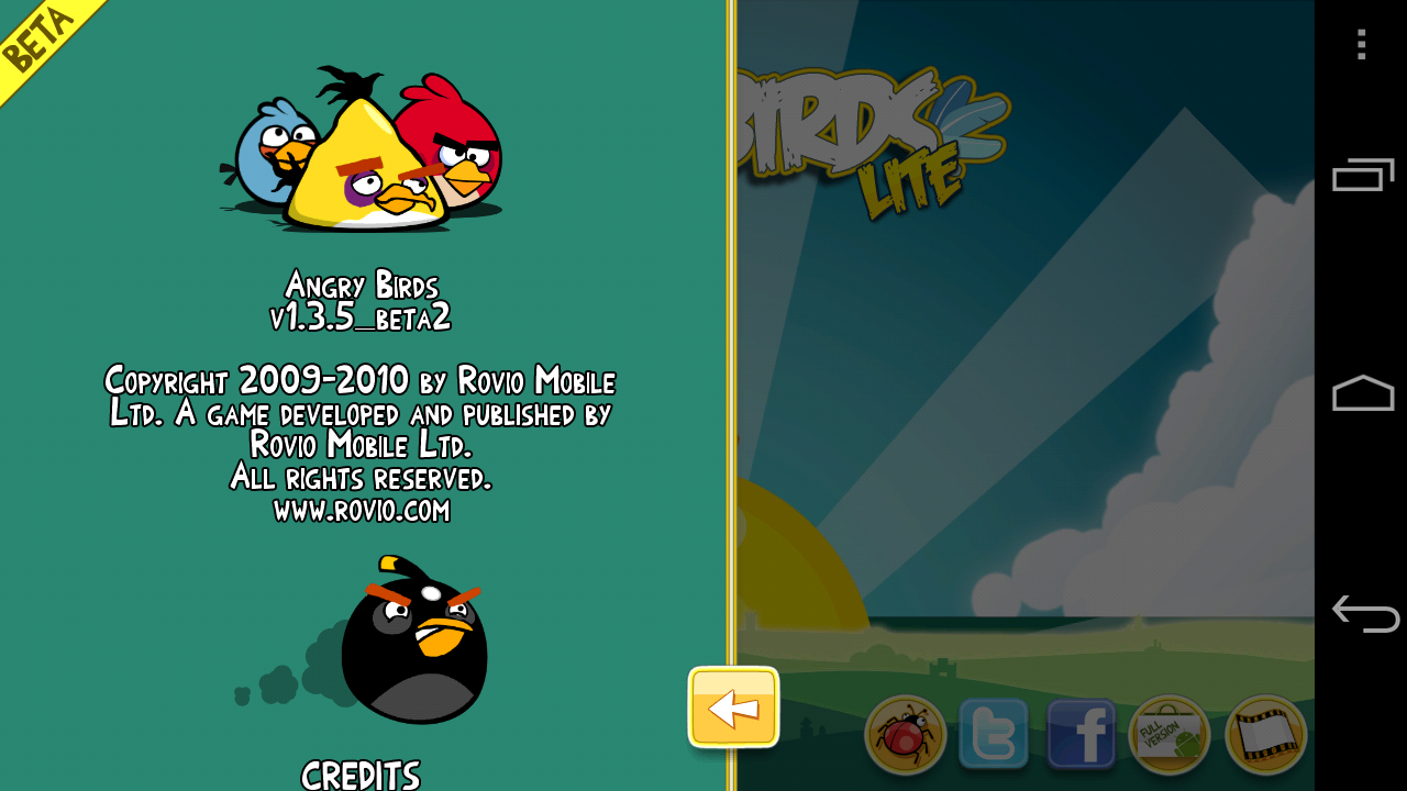 Angry Birds Lite Beta 2 Android Credits Screen