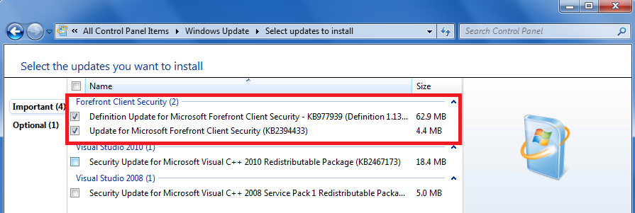 Forefront Security on Windows Server getting Windows Updates