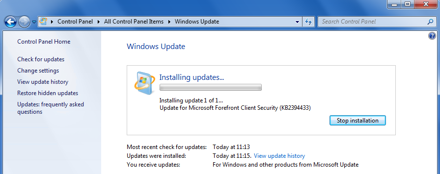 Forefront Security on Windows Server updating via Windows Update
