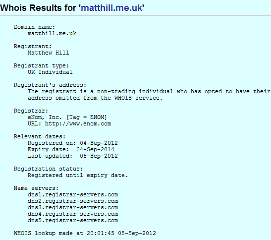 matthill.me.uk whois