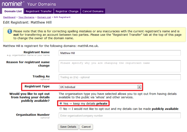 Nominet UK Opt-out