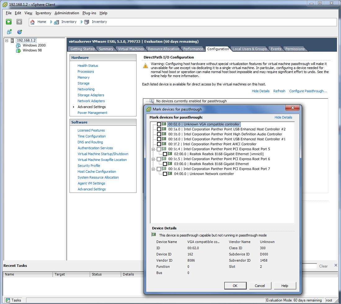 VM Ware ESXI Passthrough working perfectly - VM Ware ESXI Low Power Server Build