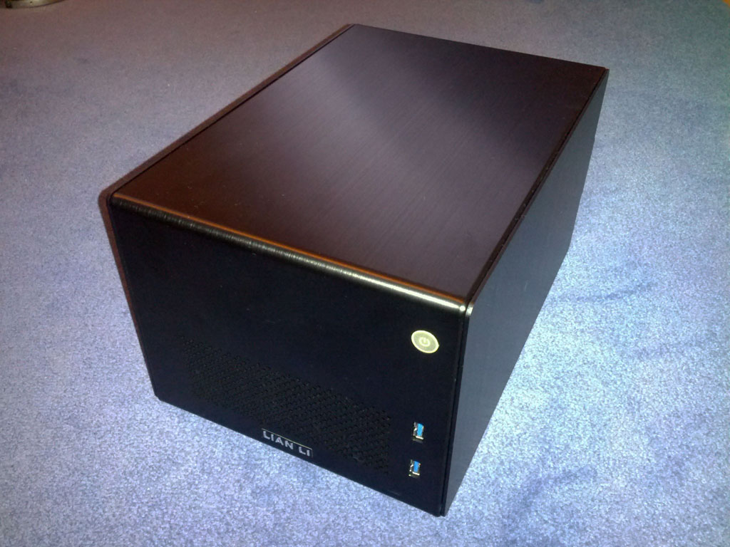 Top down view of the  Lian Li PC-Q16 Case - VM Ware ESXI Low Power Server Build