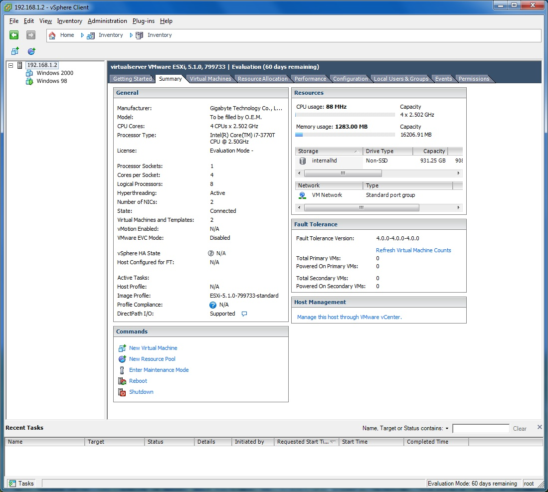 VM Ware ESXI working perfectly - VM Ware ESXI Low Power Server Build