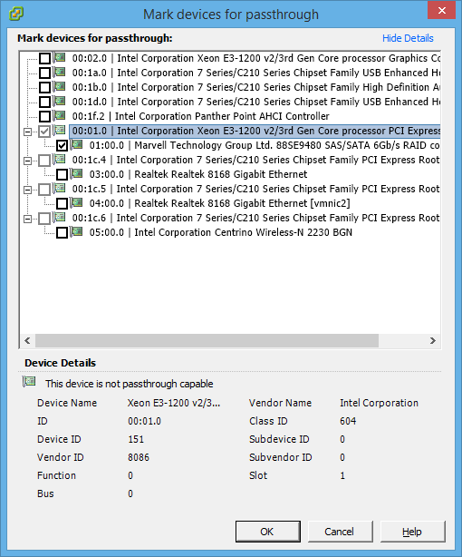 Marking the Rocket 2720SGL for passthrough on ESXi