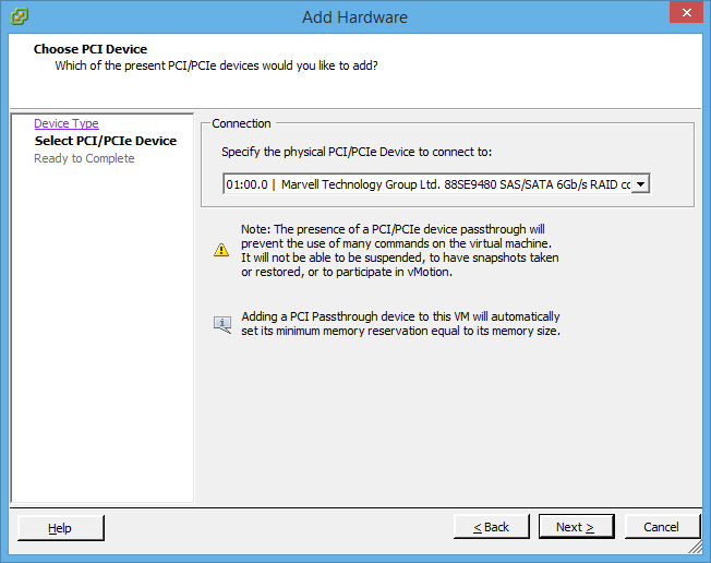 Adding the Rocket 2720SGL as a PCI device on a Windows Server 2012 R2 Virtual Machine