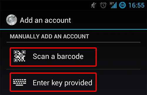 Scan or enter the key as show on the Android app