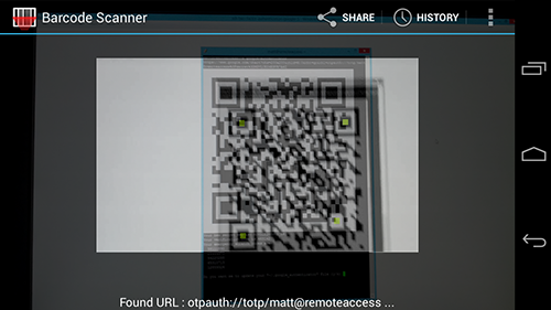 Scanning the barcode on the Android app