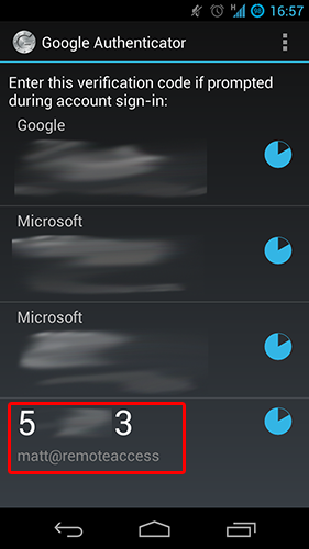 Googlr Authenticator generating codes for my SSH server, along with various other internet accounts.
