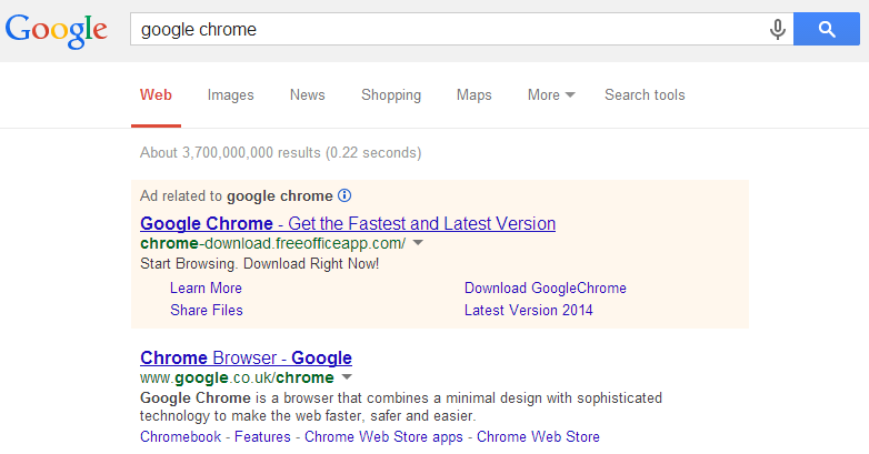 Google Chrome Fake Advert