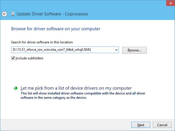 Nvidia ION Coprocessor Driver Windows 8 / Windows 10
